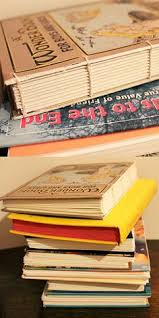 cut the cover off a old hardcover book paint cut edge for neat craftsmanship drill holes using small drill bit cut pages