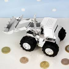 personalised digger christening money box