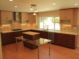 monochromatic kitchen with light and dark brown combination for kitchen wall cabinet on hardwood floor