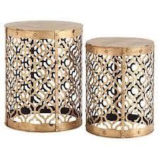 trellis openwork gold end table set
