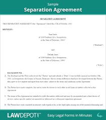 Divorce Petition Template Separation Agreement Separation