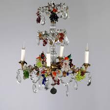 small multi coloured glass chandelier 20th century