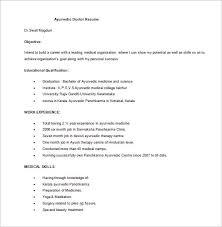 Ayurvedic Doctor Resume Free Word Download