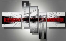 large wall paintingsWieco Art  Extra Large Size 5 Piece Perfect White Lines Modern