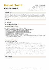 journeyman machinist resume sles