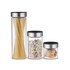 elemental kitchen airtight glass jar food storage container set w stainless steel lids 3 piece 11street malaysia food storage