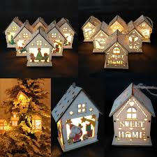 Led Light Wood House Cute Christmas Tree Hanging Ornaments