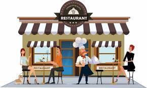restaurant exterior drawing. Exellent Drawing Restaurant Exterior Drawing Cook Diners Icons Colored Cartoon For Restaurant Exterior Drawing D