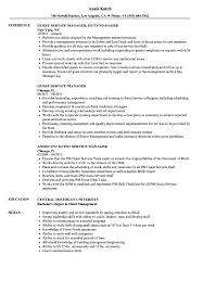 Guest Service Manager Resume Samples Velvet Jobs