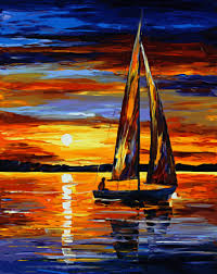 abstract sunset gold sailboat paintings for marine house design