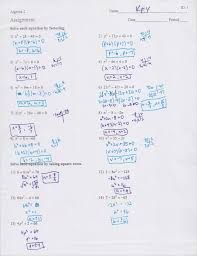math solving quadratic equations by factoring worksheet math