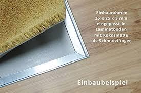 Fußmatten sind ein praktisches wohnaccessoire, um nicht zweimal den boden fegen oder wischen zu müssen. Trend Products Stuttgart Einbaurahmen Ca 59 5 X 39 5 Cm Alu Winkelrahmen Fur Den Einbau Von Fussmatten Eingangsmatten 25 X 25 X 3 Mm 6 Weitere Grossen Wahlbar Amazon De Kuche Haushalt