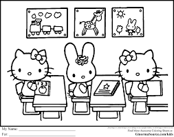 Hello Kitty Coloring Pages One Hundred And Back To School Free
