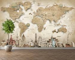 Custom wallpaper world map places of ...