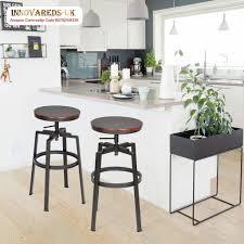Furniturer Set Von 2 Barhocker Industrial Metall Stil Vintage Holz Höhenverstellbar