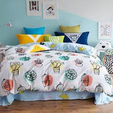bright colorful white yellow turquoise and orange cactus flower polka dot print teens twin full queen size bedding sets