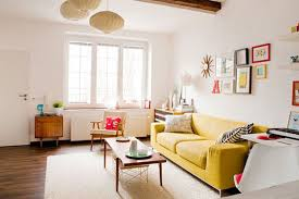 neutral living rooms decorating ideas wih yellow sofa furniture