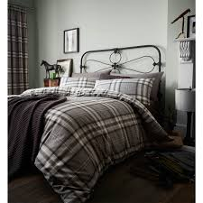 catherine lansfield kelso tartan cotton rich duvet cover set charcoal