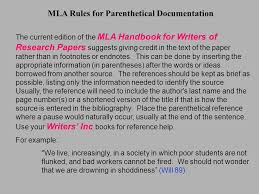 Current Mla Edition Mla Rules For Parenthetical Documentation The Current Edition Of The