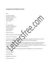 Employment Certification Letter Sample Hrzone