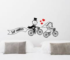 Just Married Quotes Just married Cute Cartoon Bicycle Wall Sticker Home Quotes 75