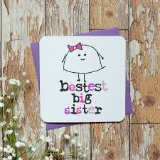 Birthday On Day Card Bestest Little Big Sister Birthday Greeting Card By Parsy Card Co
