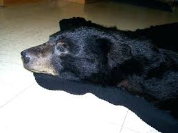 faux bear skin rug with head black fake rugs for