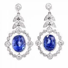 estate blue sapphire diamond platinum pendant dangle earrings