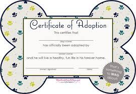 Pet Adoption Certificate Template Free Pet Adoption Certificate Pdf 119kb 1 Page S