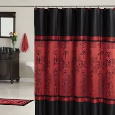 red and black shower curtain set. amazon.com: red black asian designed bathroom polyester shower curtain: home \u0026 kitchen and curtain set 2