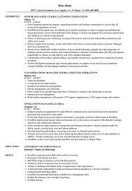 Operations Manager Global Resume Samples Velvet Jobs