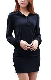 Allegra K Clothing Size Chart Allegra K Women Long Sleeves Belted Flared Above Knee Denim