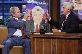 george w bush will showcase 24 portraits he painted of world leaders at his presidential library in dallas above he presents a portrait of jay leno to
