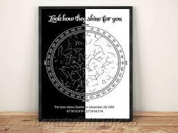 Star Chart Poster Custom Custom Star Chart Night Sky Print Coordinates Love Night Sky