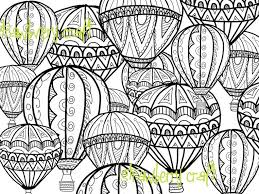 Hot Air Balloon Coloring Page Coloring Page Intricate Etsy