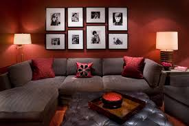Living Room With Red Red Walls And Sofa Design For Living Room Living Room Red Living