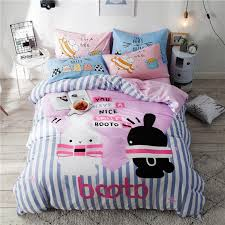 2018 black white rabbit bedding set soft cotton duvet cover set 3 twin queen flat sheet fitted sheet bedlinens pillowcases queen size bedding sets lime