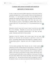 compare and contrast rationalist and empiricist approaches to  page  zoom in marked by a teacher