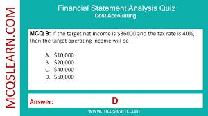 Statement Analysis Financial Statement Analysis Quiz MCQsLearn Free Videos YouTube 11