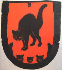 vintage halloween black cat. Wonderful Cat Vintage Halloween Crepe Paper Apron Black Cats Licensed By Dennison  192235 Throughout Cat A