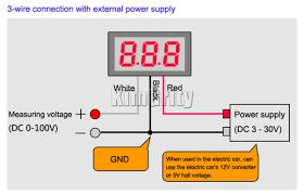 wire voltmeter wiring diagram image wiring diagram dc 0v to 100v digital voltmeter power monitor 0 100v measurement on 3 wire voltmeter wiring