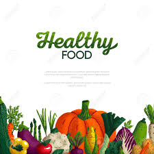 Design A Poster On The Topic Of Healthy Food Healthy Food Banner Design Variety Of Decorative Green Vegetables