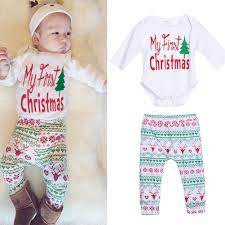 4pcs Baby Clothes Set Boy Girl Christmas Cotton Long Sleeve Outfit Romper Pants Leggings Hat Clothes Set 0 18 Months Ropa Ropa Bebe Mangas Largas