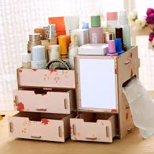 DIY wood cosmetic organizer makeup storage box sundries display Stand Rack Holder  Organizer Boxes