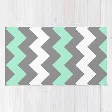mint white grey chevron rug