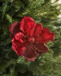 Red Glitter Magnolia Picks, Set of 12 Main