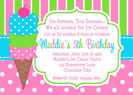 Online Printable Birthday Party Invitations Ice Cream Birthday Party Invitations Pink Green