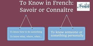 to know in french savoir or connaître