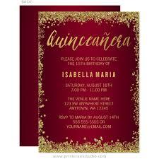 Invitations Quinceanera Burgundy Gold Glitter Quinceanera 15th Birthday Invitations