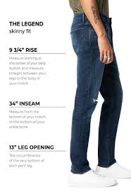 Eric Dress Size Chart Mens Denim Size Chart And Fit Guide Joes Jeans